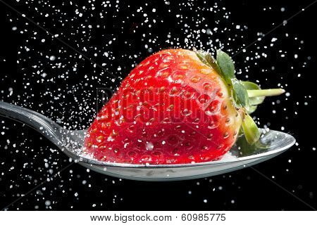 Strawberry Sprinkled With Sugar Close Up