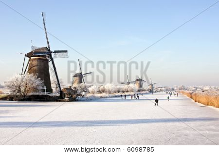 Windmills at the Kinderdijk in wintertime in the Netherlands