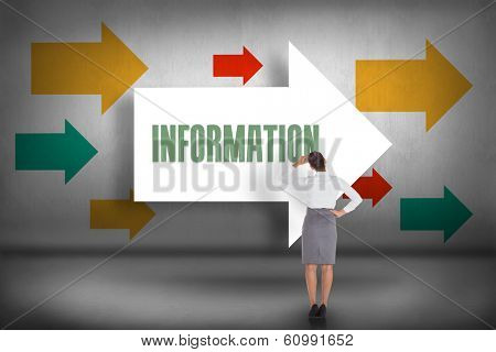The word information and businesswoman scratching her head against arrows pointing