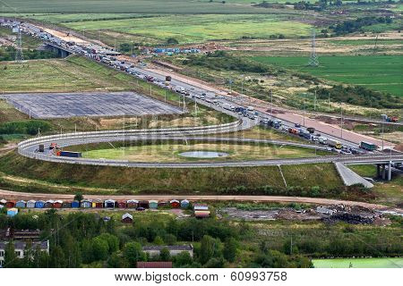 Vehicular Traffic On Ring Road Around St. Petersburg, Russia.