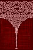 stock photo of fishnet stockings  - A lace stocking background in a fishnet style with hearts and flowers with a zipper foreground - JPG