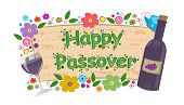 stock photo of passover  - Happy Passover banner with flowers - JPG