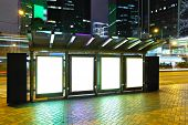 picture of bus-shelter  - Blank billboard in city at night - JPG
