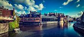 foto of gents  - Vintage retro hipster style travel image of Ghent canal and medieval building panorama - JPG