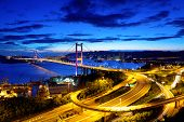 picture of hong kong bridge  - Bridge in Hong Kong at night - JPG