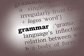 stock photo of grammar  - Grammar Dictionary Definition closeup black and white - JPG