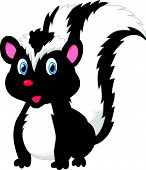 stock photo of skunk  - Vector illustration of Cute skunk cartoon isolated on white background - JPG