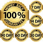 foto of 100 percent  - Money back guarantee golden set vector illustration - JPG