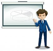 Illustration of a gentleman explaining the graph in the bulletin board on a white background