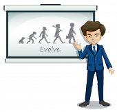 Illustration of a gentleman explaining the evolution of humans on a white background