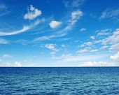 image of deep blue  - Blue sea water surface on sky - JPG