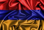 stock photo of armenia  - Satin flag three dimensional render flag of Armenia - JPG