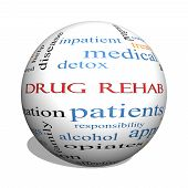 Drug Rehab 3D Sphere Word Cloud Concept