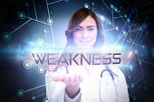 pic of character traits  - The word weakness and portrait of female nurse holding out open palm against black background with glowing network - JPG