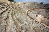 DENIZLI, TURKEY - APRIL 30, 2013: ancient amphitheater in Turkey near Pamukkale