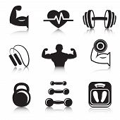 stock photo of skipping rope  - Fitness bodybuilding sport icons set of strength and slimness training exercises isolated vector illustration - JPG