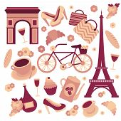 stock photo of french culture  - Paris symbols collection of eiffel tower french croissant coffee and culture isolated vector illustration - JPG