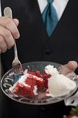 stock photo of red velvet cake  - closeup of red velvet cake - JPG