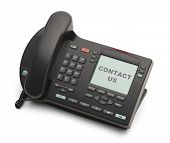 image of voip  - Black Business Phone Contact Us Isolated on White Background - JPG