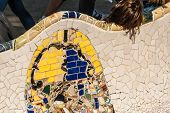 Barcelona Park Guell Of Gaudi Tiles Mosaic Serpentine Bench Modernism