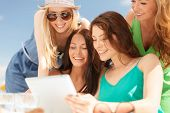 stock photo of internet-cafe  - summer holidays - JPG