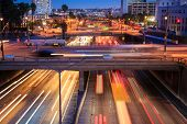 Heavy traffic in Los Angeles city at rush hour. Long exposure.