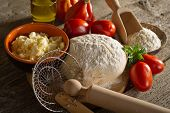 pic of home-made bread  - dough and ingredients for homemade pizza - JPG