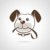 stock photo of hound dog  - Dog head with leash icon vector illustration - JPG