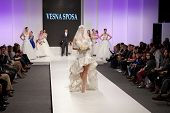 ZAGREB, CROATIA - FEBRUARY 15, 2014: Fashion model in wedding dress on 'Wedding fair'