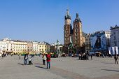 St. Mary's Church At Market Square Of Krakow
