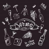 stock photo of merlot  - Wine set on chalk board vector illustration - JPG