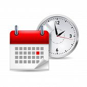 foto of countdown timer  - Time icon with calendar and clock behind it - JPG