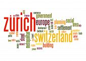stock photo of zurich  - Zurich word cloud image with hi - JPG
