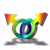 image of gay symbol  - Illustration of a gay symbol with rainbow colors on white background - JPG