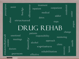 stock photo of opiate  - Drug Rehab Word Cloud Concept on a Blackboard with great terms such as patients addicts help and more - JPG