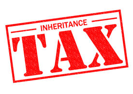 pic of tariff  - INHERITANCE TAX red Rubber Stamp over a white background - JPG