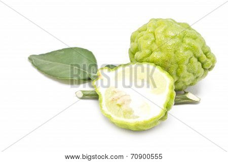 Kaffir Lime With Leaves Isolated On White Background.