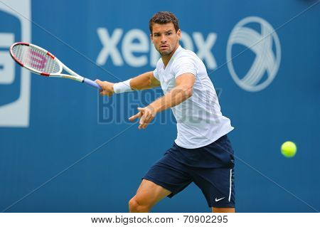 Professional tennis player Grigor Dimitrov from Bulgaria practices for US Open 2014
