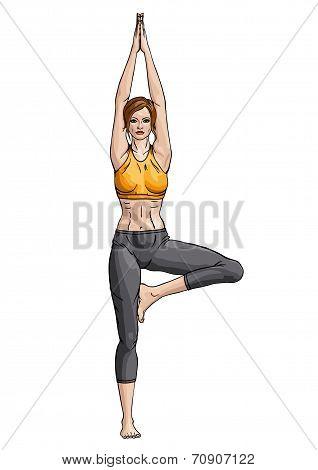 Girl in a yoga tree pose (Vrikshasana)