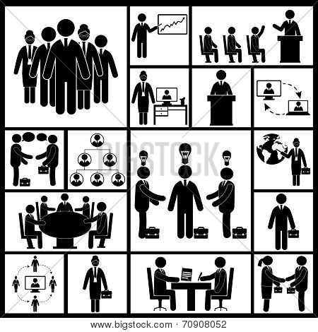 Meeting Icons Set Black