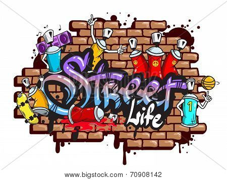Graffiti word characters composition