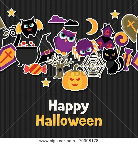 Happy halloween greeting card with flat sticker icons.