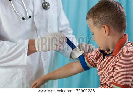 Little Boy Before Taking Blood Sample