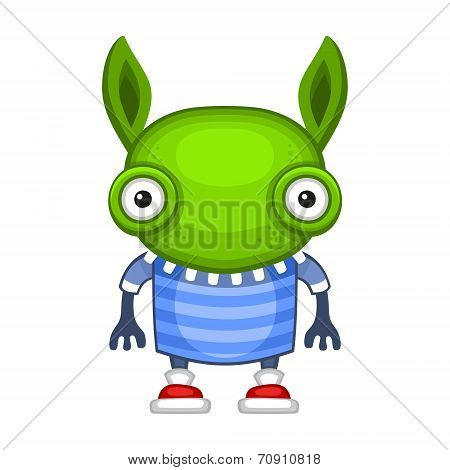 Funny Cartoon Green Alien. Vector