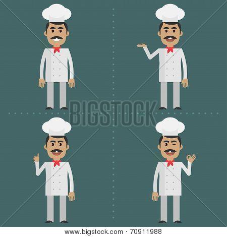 Adult cook shows gestures