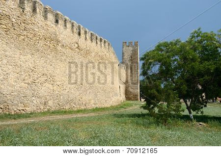 Fortified Wall And Watchtower In Old Turkish Fortress Akkerman On The River Dniester,Ukraine