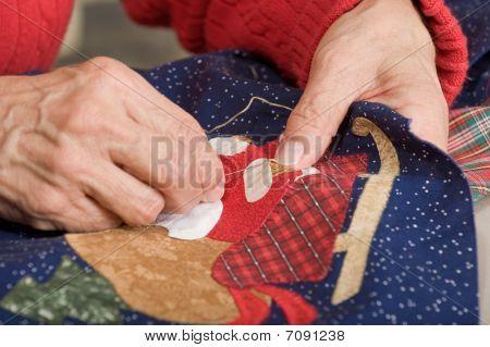 Hand Stitching Quilt.