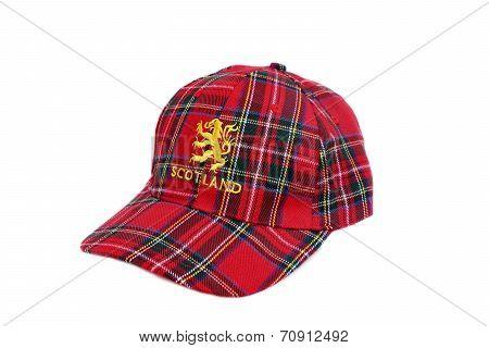 Red Tartan Cap With Scottish Arms