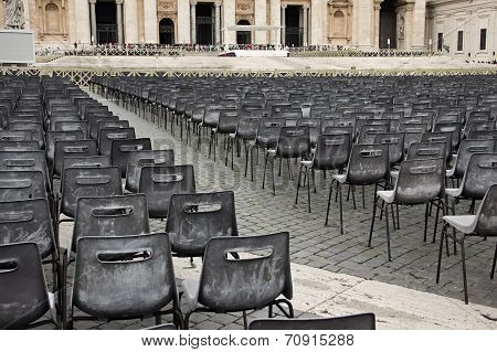 Square With Chairs For Parishioners In Front St. Peter's Basilica In Vatican