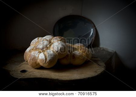 Close-up of traditional French bread.